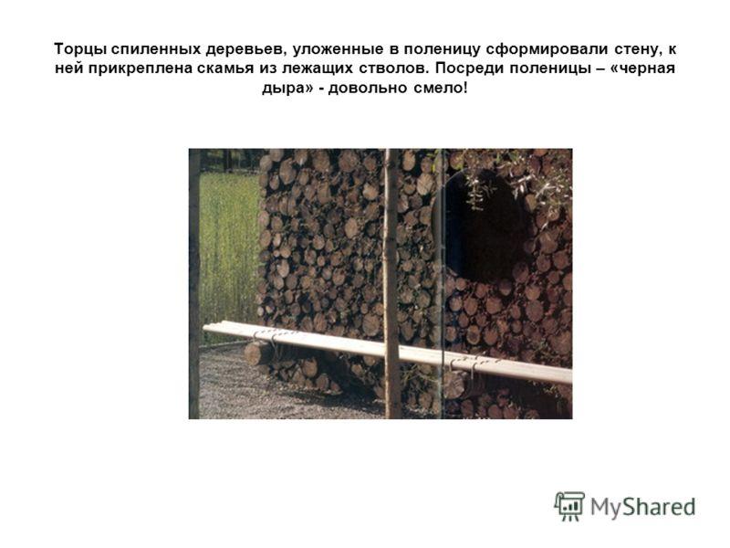 Торцы спиленных деревьев, уложенные в поленицу сформировали стену, к ней прикреплена скамья из лежащих стволов. Посреди поленицы – «черная дыра» - довольно смело!