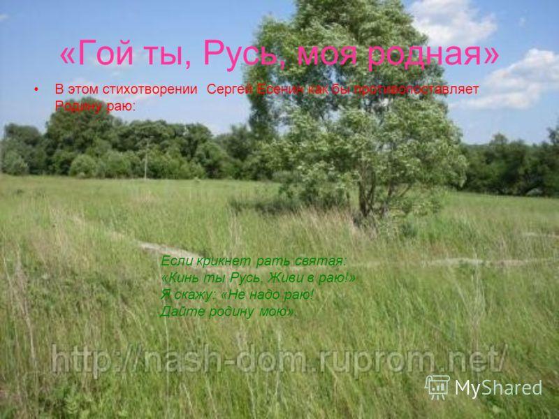 «Гой ты, Русь, моя родная» В этом стихотворении Сергей Есенин как бы противопоставляет Родину раю: Если крикнет рать святая: «Кинь ты Русь, Живи в раю!» Я скажу: «Не надо раю! Дайте родину мою».
