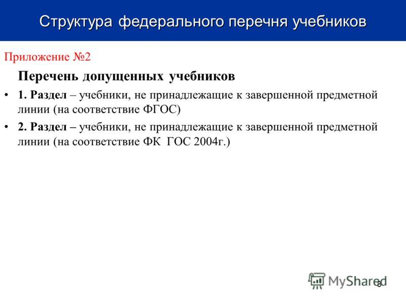 Приложение 2 Перечень допущенных учебников 1. Раздел – учебники, не принадлежащие к завершенной предметной линии (на соответствие ФГОС) 2. Раздел – учебники, не принадлежащие к завершенной предметной линии (на соответствие ФК ГОС 2004г.) 8 Структура