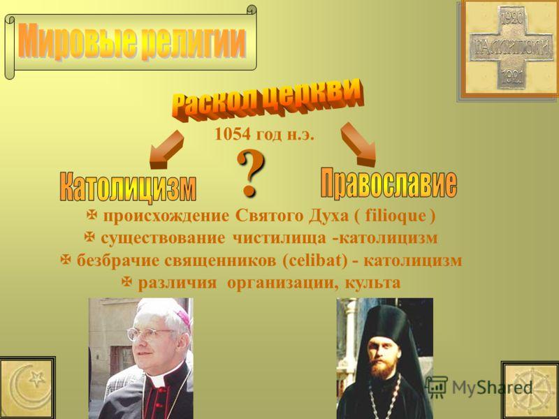 1054 год н.э. происхождение Святого Духа ( filioque ) существование чистилища -католицизм безбрачие священников (celibat) - католицизм различия организации, культа ?