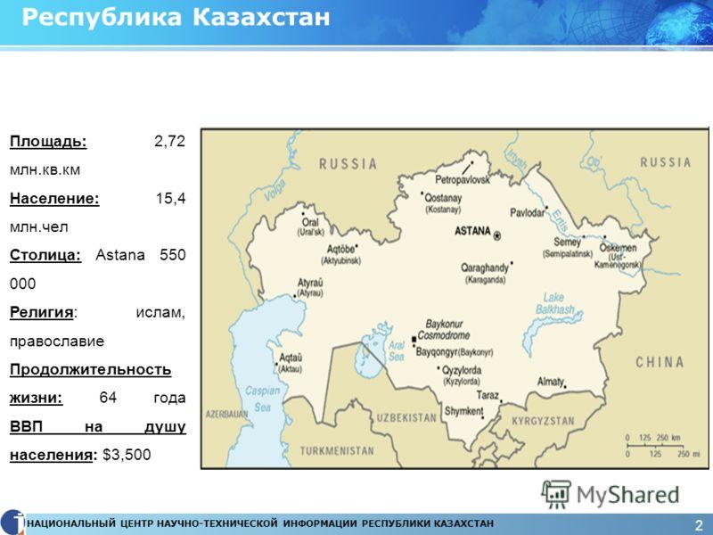 НАЦИОНАЛЬНЫЙ ЦЕНТР НАУЧНО-ТЕХНИЧЕСКОЙ ИНФОРМАЦИИ РЕСПУБЛИКИ КАЗАХСТАН 2 Республика Казахстан Площадь: 2,72 млн.кв.км Население: 15,4 млн.чел Столица: Astana 550 000 Религия: ислам, православие Продолжительность жизни: 64 года ВВП на душу населения: $