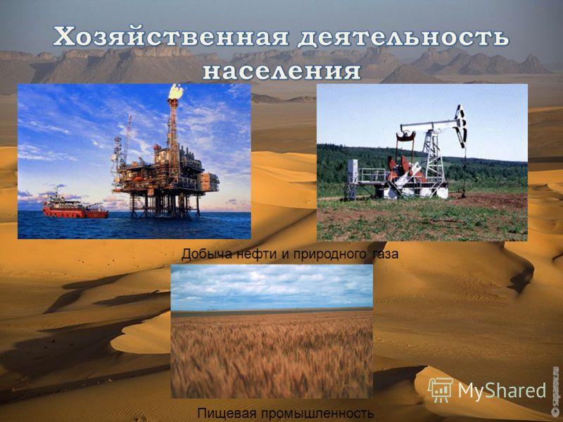 Добыча нефти и природного газа Пищевая промышленность