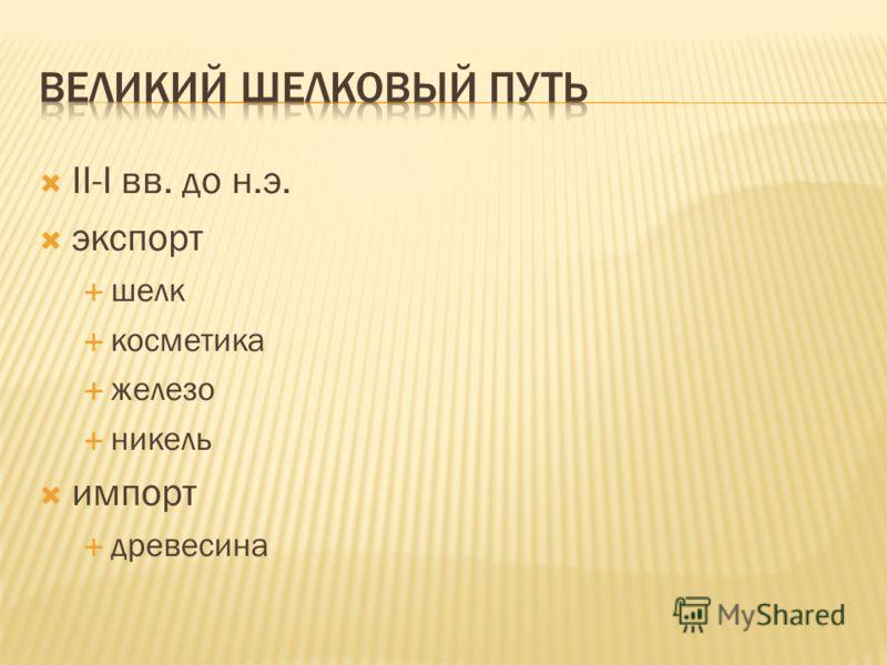 II-I вв. до н.э. экспорт шелк косметика железо никель импорт древесина