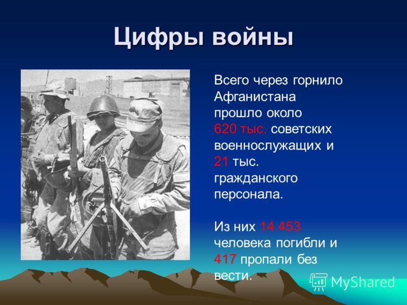 Цифры войны Всего через горнило Афганистана прошло около 620 тыс. советских военнослужащих и 21 тыс. гражданского персонала. Из них 14 453 человека погибли и 417 пропали без вести.