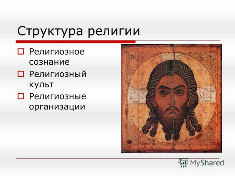 Структура религии Религиозное сознание Религиозный культ Религиозные организации