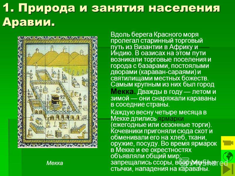 1. Природа и занятия населения Аравии. Вдоль берега Красного моря пролегал старинный торговый путь из Византии в Африку и Индию. В оазисах на этом пути возникали торговые поселения и города с базарами, постоялыми дворами (караван-сараями) и святилища