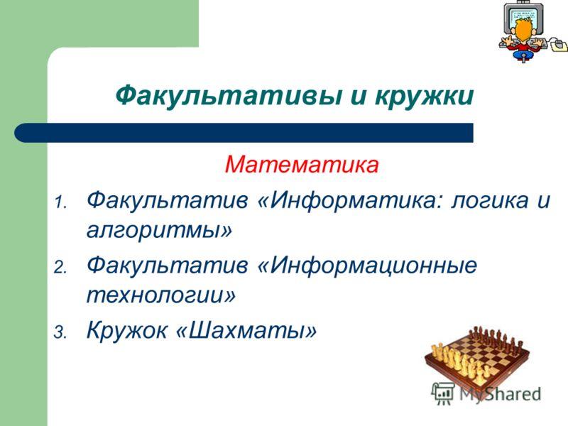 Факультативы и кружки Математика 1. Факультатив «Информатика: логика и алгоритмы» 2. Факультатив «Информационные технологии» 3. Кружок «Шахматы»