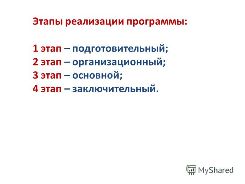Этапы реализации программы: 1 этап – подготовительный; 2 этап – организационный; 3 этап – основной; 4 этап – заключительный.