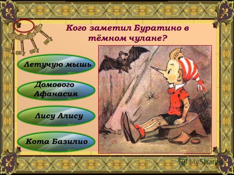 Лису Алису Кого заметил Буратино в тёмном чулане? Кота Базилио Домового Афанасия Летучую мышь
