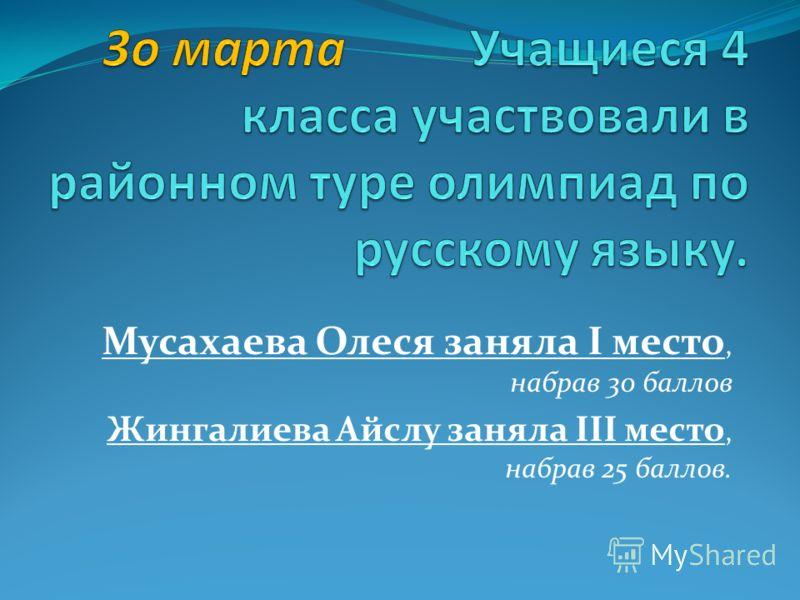 Мусахаева Олеся заняла I место, набрав 30 баллов Жингалиева Айслу заняла III место, набрав 25 баллов.