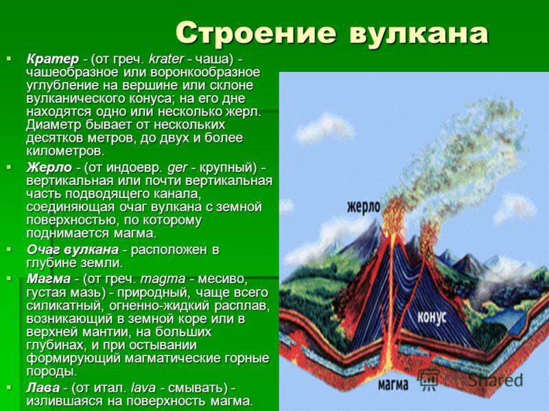ВНУТРЕННЕЕ СТРОЕНИЕ ВУЛКАНА ЖЕРЛО ВУЛКАНА СЛОИ ЗАСТЫВШЕЙ ЛАВЫ КРАТЕР ВУЛКАНА БОКОВОЙ КРАТЕР ЛАВА ОЧАГ МАГМЫ Вулкан (от лат. Vulcanus – огонь, пламя) – геологическое образование, возникающее над каналами и трещинами в земной коре, по которым на земную
