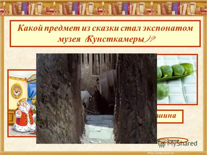 Какой предмет из сказки стал экспонатом музея ( Кунсткамеры )? горошина Ответ