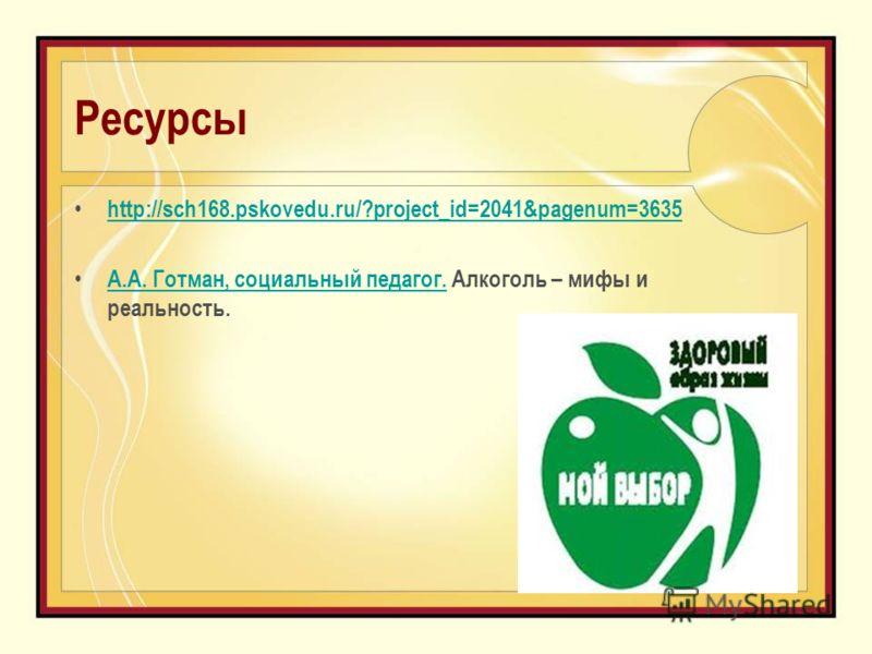 Ресурсы http://sch168.pskovedu.ru/?project_id=2041&pagenum=3635 А.А. Готман, cоциальный педагог. Алкоголь – мифы и реальность. А.А. Готман, cоциальный педагог.