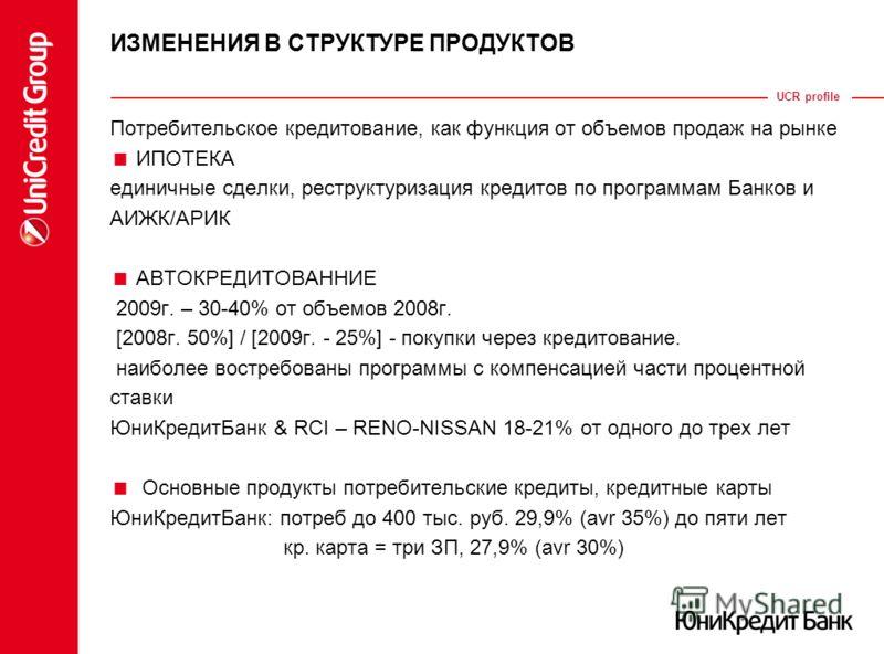UCR profile ИЗМЕНЕНИЯ В СТРУКТУРЕ ПРОДУКТОВ Потребительское кредитование, как функция от объемов продаж на рынке ИПОТЕКА единичные сделки, реструктуризация кредитов по программам Банков и АИЖК/АРИК АВТОКРЕДИТОВАННИЕ 2009г. – 30-40% от объемов 2008г.