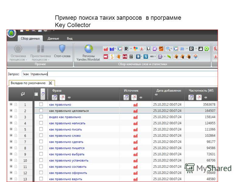 Пример поиска таких запросов в программе Key Cоllector
