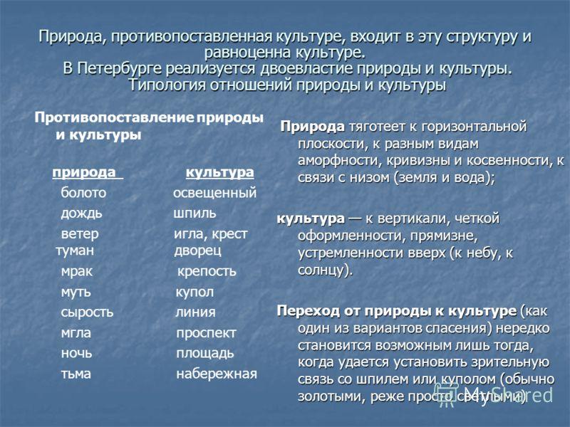 Природа, противопоставленная культуре, входит в эту структуру и равноценна культуре. В Петербурге реализуется двоевластие природы и культуры. Типология отношений природы и культуры Противопоставление природы и культуры природа культура болото освещен