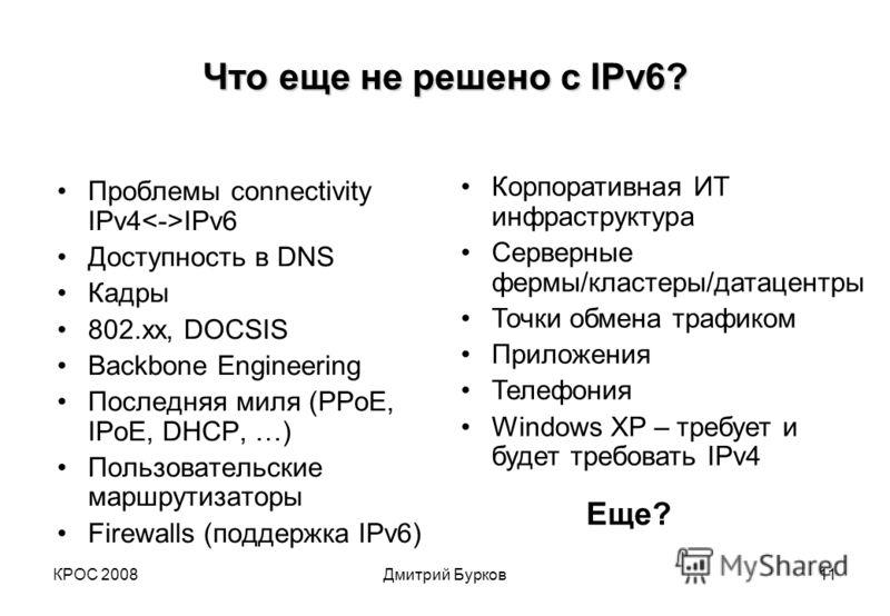КРОС 2008Дмитрий Бурков11 Что еще не решено с IPv6? Проблемы connectivity IPv4 IPv6 Доступность в DNS Кадры 802.хх, DOCSIS Backbone Engineering Последняя миля (PPoE, IPoE, DHCP, …) Пользовательские маршрутизаторы Firewalls (поддержка IPv6) Корпоратив