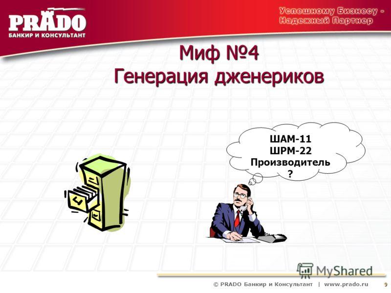 © PRADO Банкир и Консультант | www.prado.ru 9 Миф 4 Генерация дженериков ШАМ-11 ШРМ-22 Производитель ?