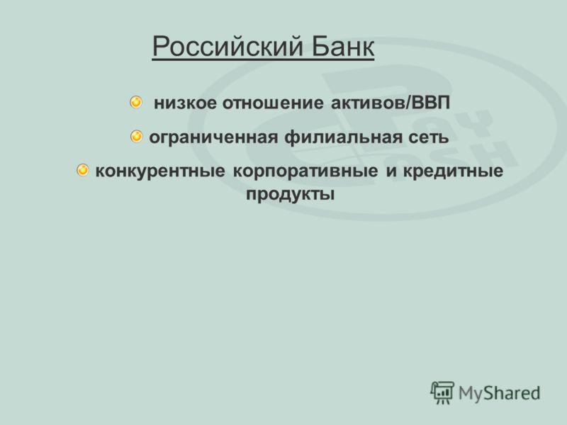 низкое отношение активов/ВВП ограниченная филиальная сеть конкурентные корпоративные и кредитные продукты Российский Банк