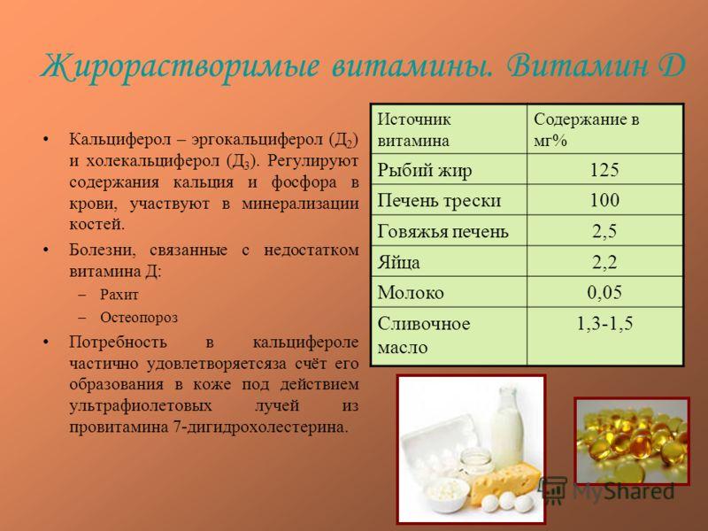 Жирорастворимые витамины. Витамин Д Кальциферол – эргокальциферол (Д 2 ) и холекальциферол (Д 3 ). Регулируют содержания кальция и фосфора в крови, участвуют в минерализации костей. Болезни, связанные с недостатком витамина Д: –Рахит –Остеопороз Потр