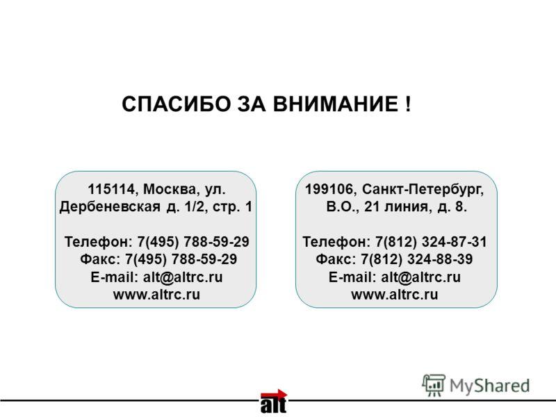 199106, Санкт-Петербург, В.О., 21 линия, д. 8. Телефон: 7(812) 324-87-31 Факс: 7(812) 324-88-39 E-mail: alt@altrc.ru www.altrc.ru 115114, Москва, ул. Дербеневская д. 1/2, стр. 1 Телефон: 7(495) 788-59-29 Факс: 7(495) 788-59-29 E-mail: alt@altrc.ru ww
