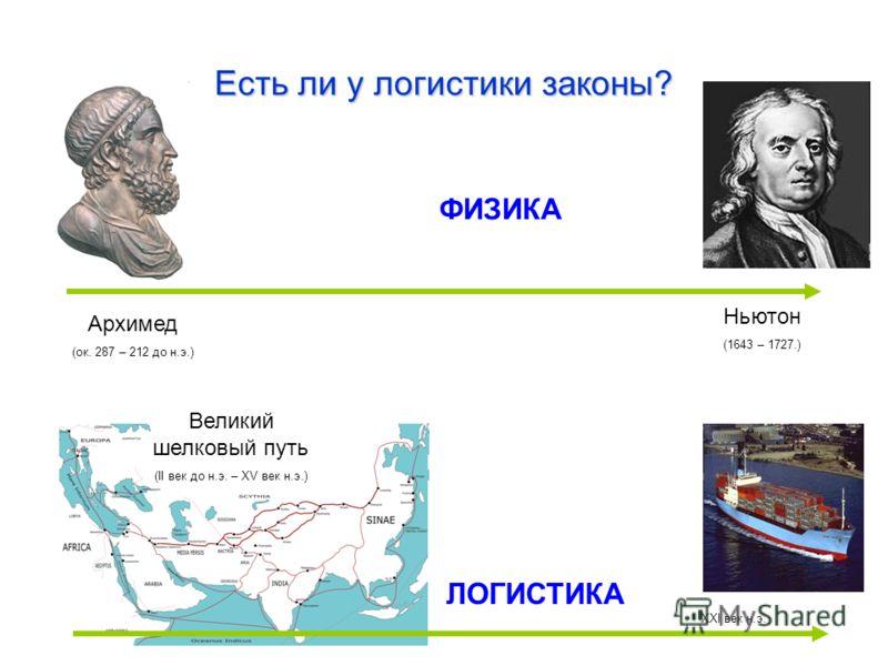 Есть ли у логистики законы? ФИЗИКА Архимед (ок. 287 – 212 до н.э.) Ньютон (1643 – 1727.) Великий шелковый путь (II век до н.э. – XV век н.э.) ЛОГИСТИКА XXI век н.э.
