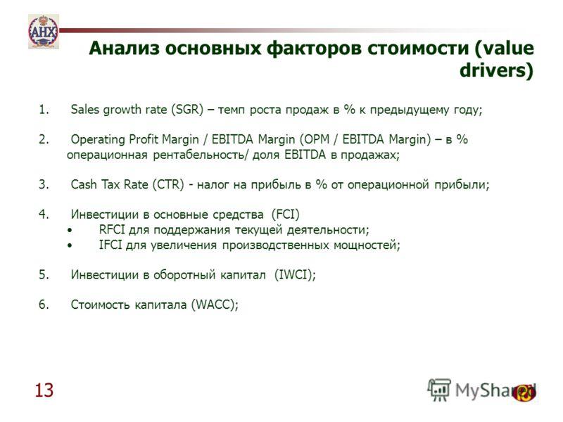 13 Анализ основных факторов стоимости (value drivers) 1. Sales growth rate (SGR) – темп роста продаж в % к предыдущему году; 2. Operating Profit Margin / EBITDA Margin (OPM / EBITDA Margin) – в % операционная рентабельность/ доля EBITDA в продажах; 3
