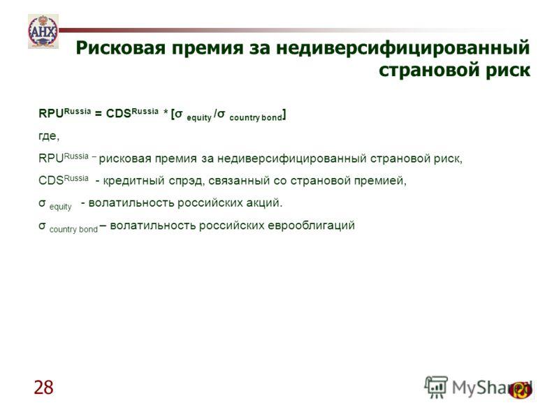 28 Рисковая премия за недиверсифицированный страновой риск RPU Russia = CDS Russia * [σ equity /σ country bond ] где, RPU Russia – рисковая премия за недиверсифицированный страновой риск, CDS Russia - кредитный спрэд, связанный со страновой премией,