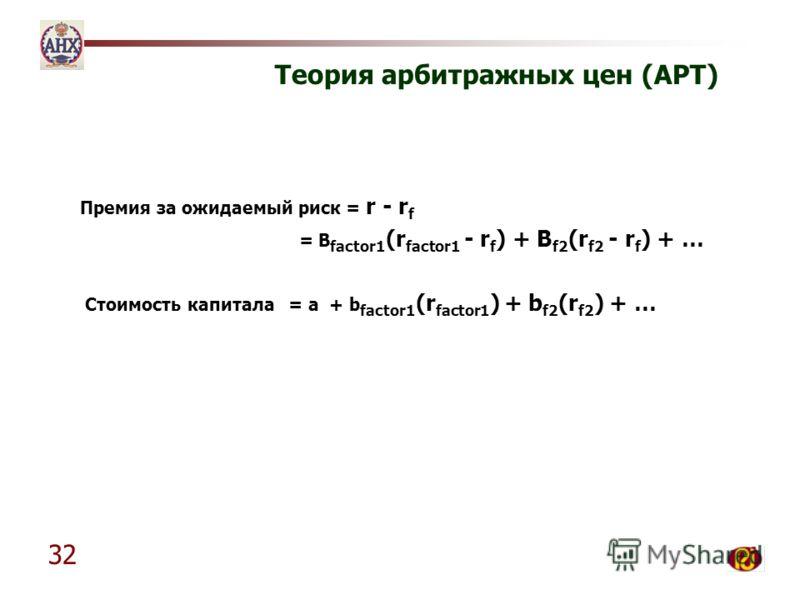 32 Теория арбитражных цен (APT) Премия за ожидаемый риск = r - r f = B factor1 (r factor1 - r f ) + B f2 (r f2 - r f ) + … Стоимость капитала= a + b factor1 (r factor1 ) + b f2 (r f2 ) + …