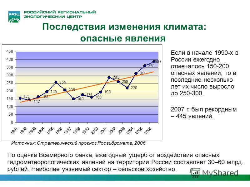 Последствия изменения климата: опасные явления Если в начале 1990-х в России ежегодно отмечалось 150-200 опасных явлений, то в последние несколько лет их число выросло до 250-300. 2007 г. был рекордным – 445 явлений. Источник: Стратегический прогноз