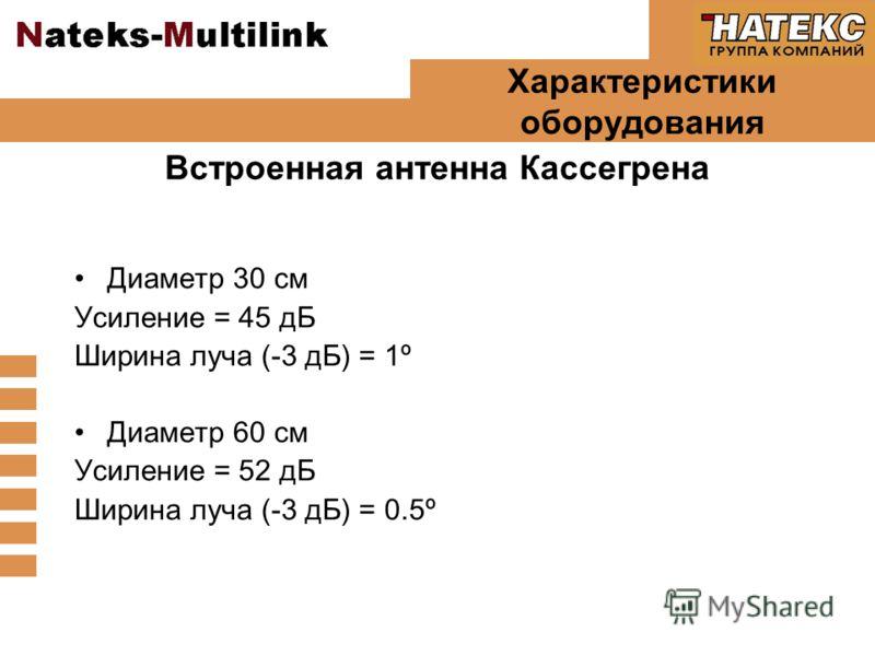 Характеристики оборудования Диаметр 30 см Усиление = 45 дБ Ширина луча (-3 дБ) = 1º Диаметр 60 см Усиление = 52 дБ Ширина луча (-3 дБ) = 0.5º Встроенная антенна Кассегрена