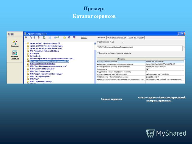 Пример: Каталог сервисов отчет о сервисе «Автоматизированный контроль приказов» Список сервисов