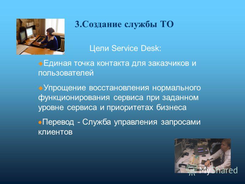 Цели Service Desk: Единая точка контакта для заказчиков и пользователей Упрощение восстановления нормального функционирования сервиса при заданном уровне сервиса и приоритетах бизнеса Перевод - Служба управления запросами клиентов 3.Создание службы Т