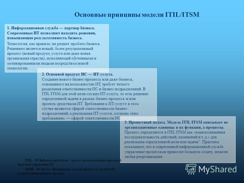 Основные принципы модели ITIL/ITSM 1. Информационная служба партнер бизнеса. Современные ИТ позволяют находить решения, повышающие результативность бизнеса. Технология, как правило, не решает проблем бизнеса. Решением является новый, более результати