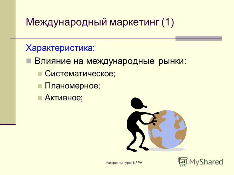 Материалы курса ЦРРН3 Международный маркетинг (1) Характеристика: Влияние на международные рынки: Систематическое; Планомерное; Активное;