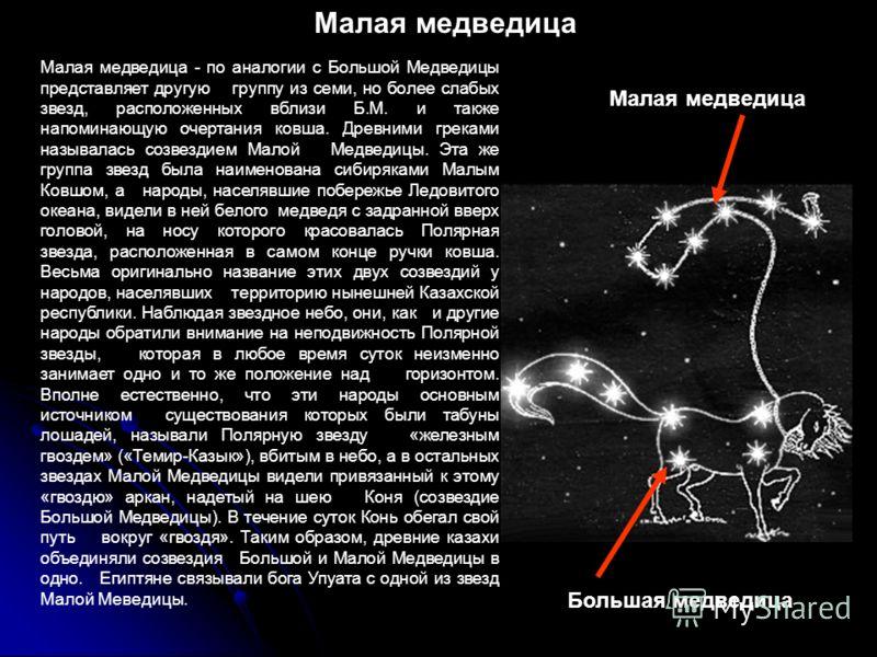 Малая медведица - по аналогии с Большой Медведицы представляет другую группу из семи, но более слабых звезд, расположенных вблизи Б.М. и также напоминающую очертания ковша. Древними греками называлась созвездием Малой Медведицы. Эта же группа звезд б