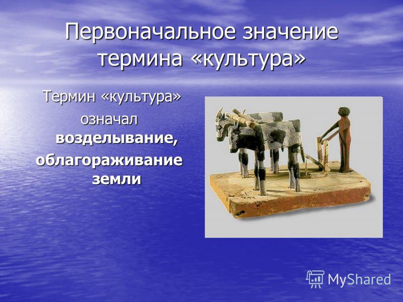 Первоначальное значение термина «культура» Термин «культура» Термин «культура» означал возделывание, облагораживание земли