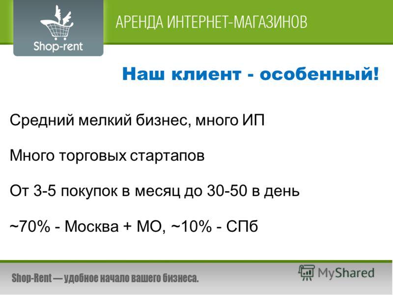 Наш клиент - особенный! Средний мелкий бизнес, много ИП Много торговых стартапов От 3-5 покупок в месяц до 30-50 в день ~70% - Москва + МО, ~10% - СПб