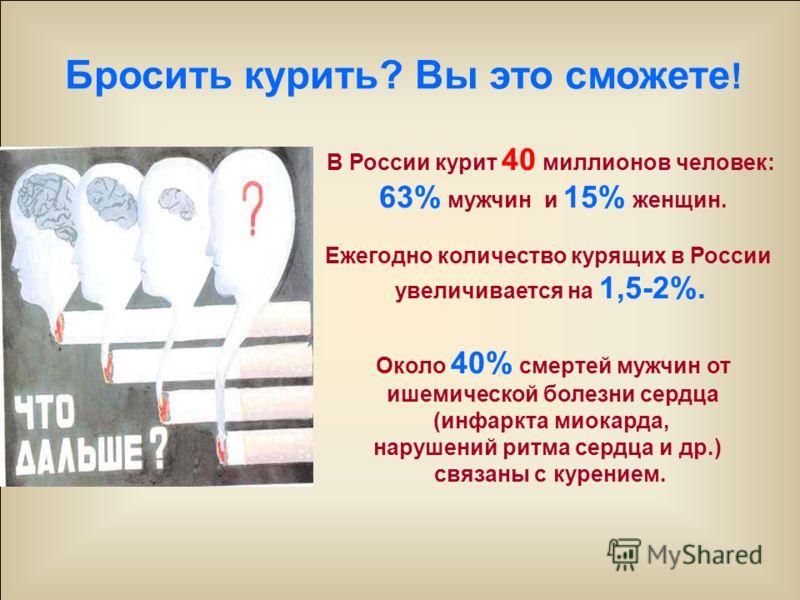 В России курит 40 миллионов человек: 63% мужчин и 15% женщин. Ежегодно количество курящих в России увеличивается на 1,5-2%. Около 40% смертей мужчин от ишемической болезни сердца (инфаркта миокарда, нарушений ритма сердца и др.) связаны с курением. Б