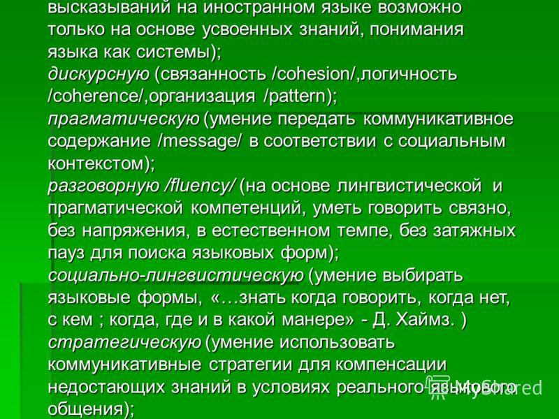 Он использует термин «коммуникативное языковое умение» (communicative language activity) и включает следующие ключевые компетенции: языковую/лингвистическую/ (осуществление высказываний на иностранном языке возможно только на основе усвоенных знаний,