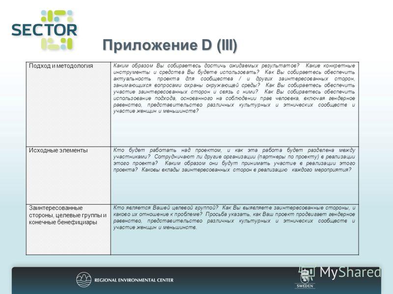 Приложение D (III) Подход и методология Каким образом Вы собираетесь достичь ожидаемых результатов? Какие конкретные инструменты и средства Вы будете использовать? Как Вы собираетесь обеспечить актуальность проекта для сообщества / и других заинтерес