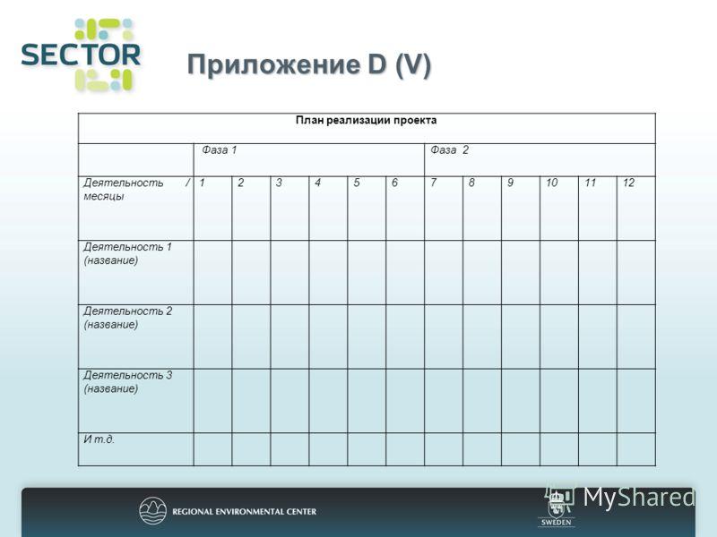 Приложение D (V) План реализации проекта Фаза 1Фаза 2 Деятельность / месяцы 123456789101112 Деятельность 1 (название) Деятельность 2 (название) Деятельность 3 (название) И т.д.