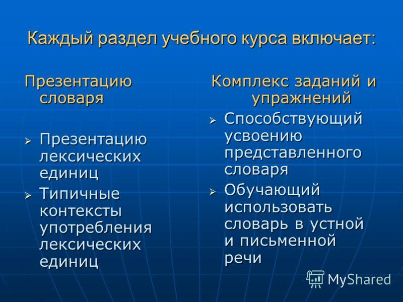 Каждый раздел учебного курса включает: Презентацию словаря Презентацию лексических единиц Презентацию лексических единиц Типичные контексты употребления лексических единиц Типичные контексты употребления лексических единиц Комплекс заданий и упражнен