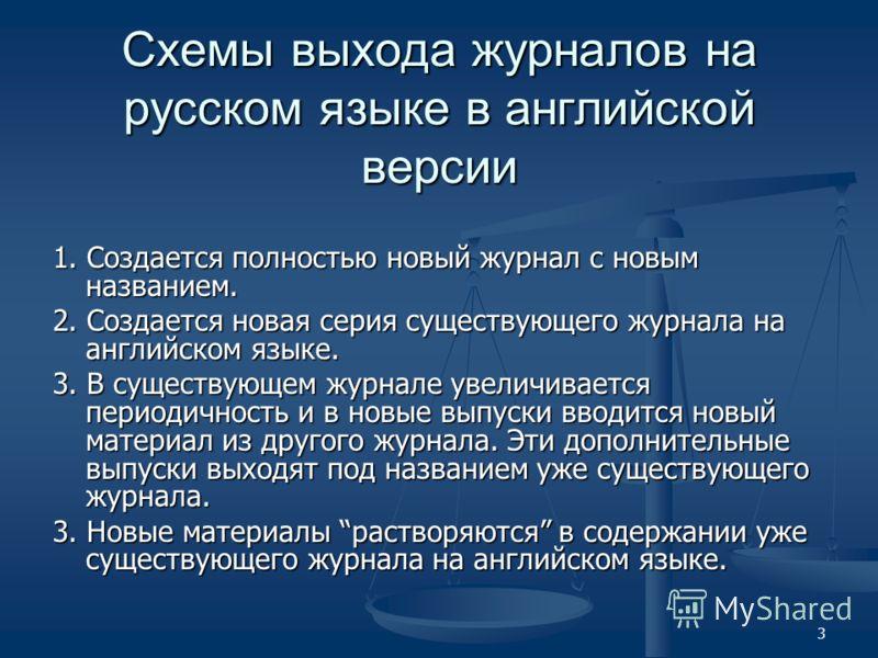 3 Схемы выхода журналов на русском языке в английской версии 1. Создается полностью новый журнал с новым названием. 2. Создается новая серия существующего журнала на английском языке. 3. В существующем журнале увеличивается периодичность и в новые вы