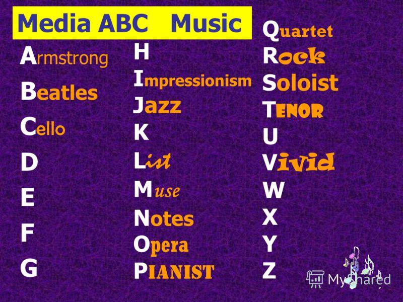 Media ABC Music A rmstrong B eatles C ello D E F G H I mpressionism Jazz K L ist M use N otes O pera P ianist Q uartet R ock Soloist T enor U V ivid W X Y Z