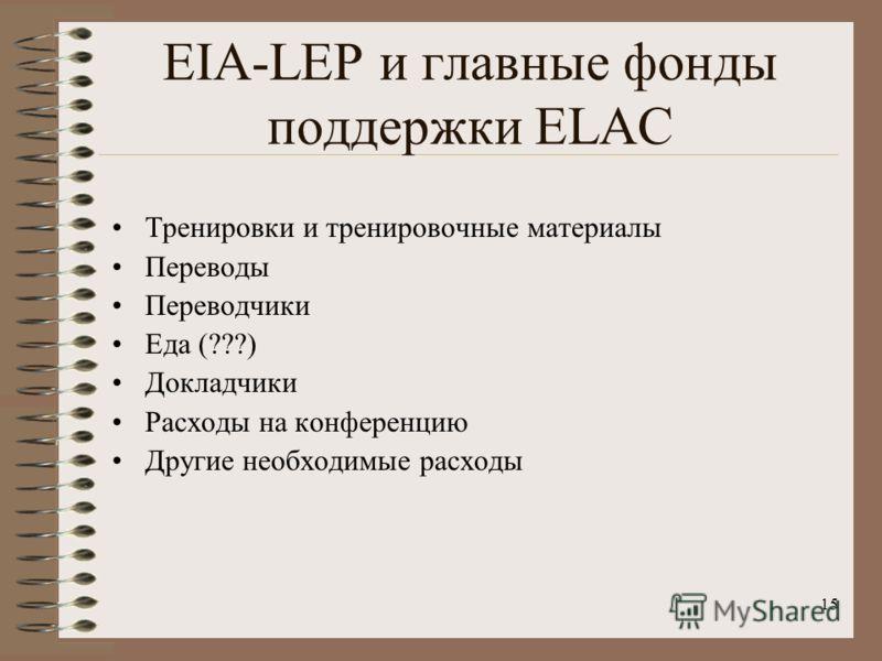 15 EIA-LEP и главные фонды поддержки ELAC Тренировки и тренировочные материалы Переводы Переводчики Еда (???) Докладчики Расходы на конференцию Другие необходимые расходы