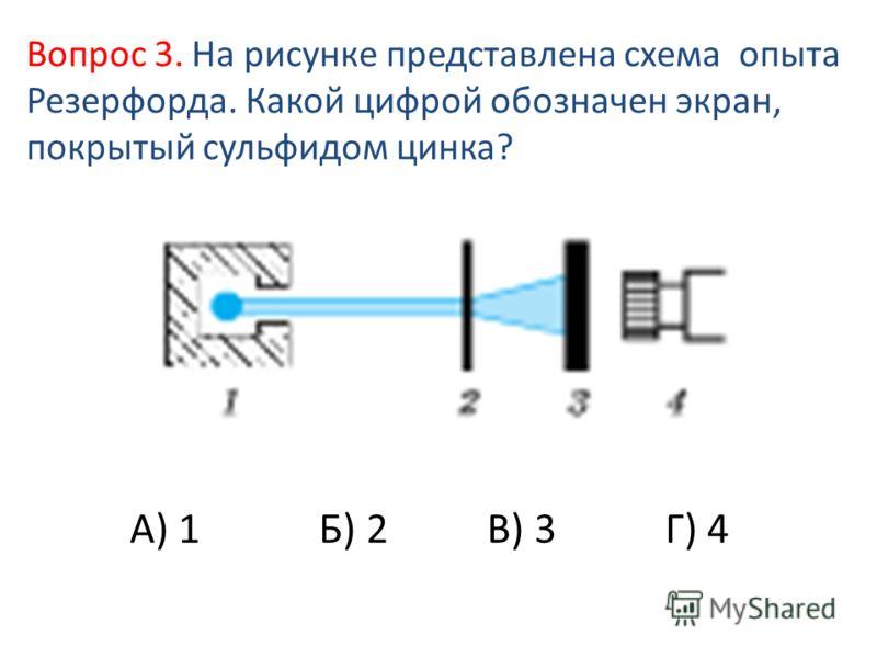 А) 1 Б) 2 В) 3 Г) 4 Вопрос 3. На рисунке представлена схема опыта Резерфорда. Какой цифрой обозначен экран, покрытый сульфидом цинка?