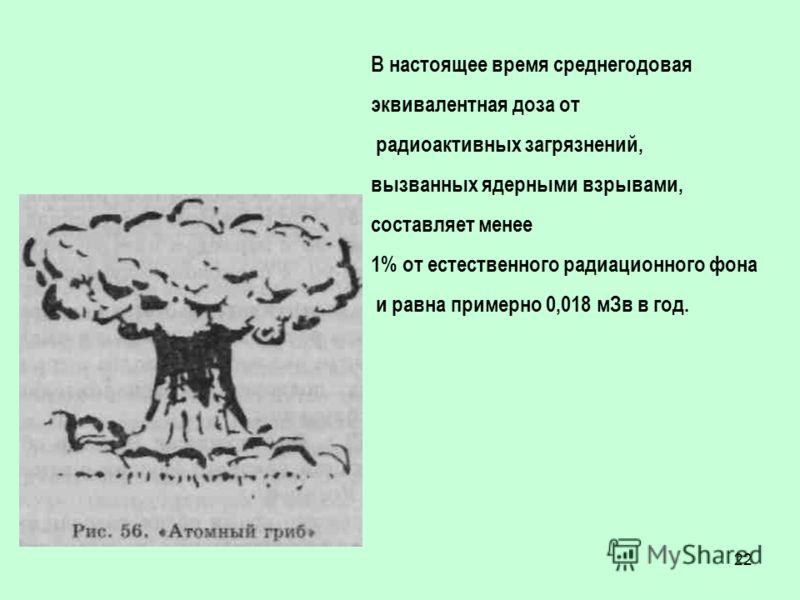 22 В настоящее время среднегодовая эквивалентная доза от радиоактивных загрязнений, вызванных ядерными взрывами, составляет менее 1% от естественного радиационного фона и равна примерно 0,018 мЗв в год.