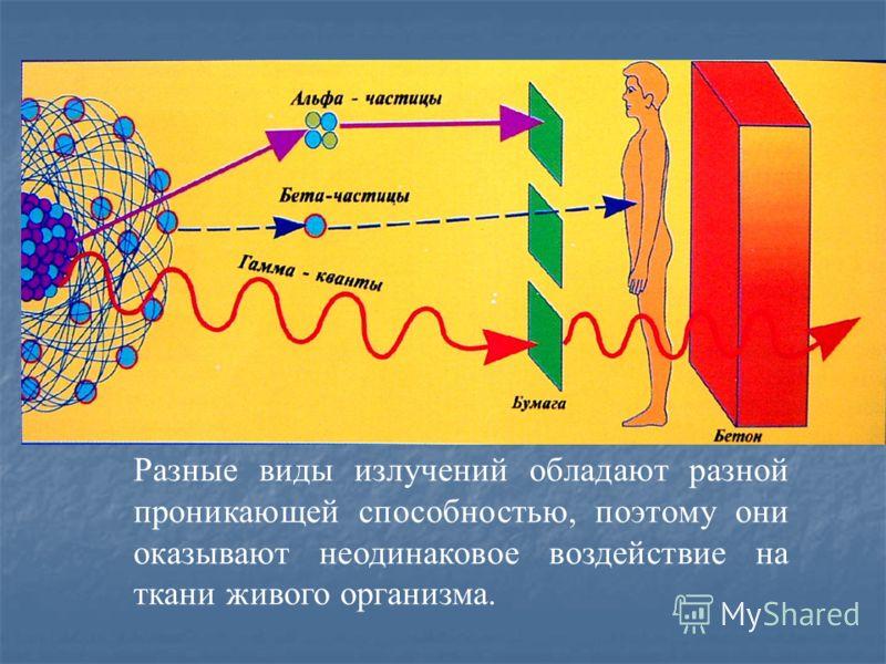 Разные виды излучений обладают разной проникающей способностью, поэтому они оказывают неодинаковое воздействие на ткани живого организма.
