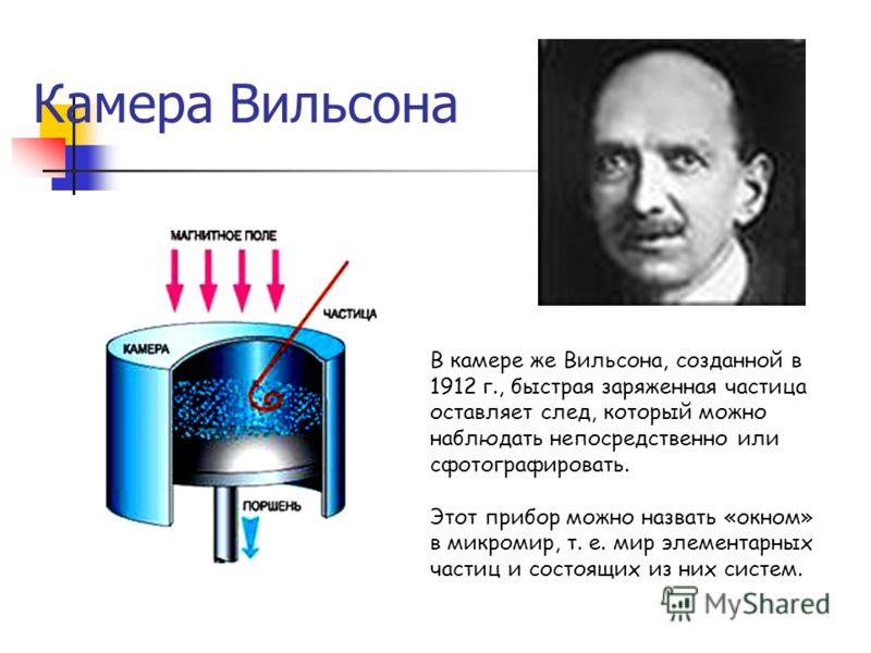 Камера Вильсона В камере же Вильсона, созданной в 1912 г., быстрая заряженная частица оставляет след, который можно наблюдать непосредственно или сфотографировать. Этот прибор можно назвать «окном» в микромир, т. е. мир элементарных частиц и состоящи